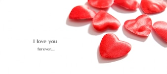 Romantic message with hearts background