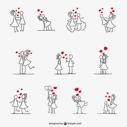 Romantic stickman couple collection