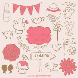 Romantic wedding graphics set