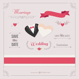 Romantic wedding invitation template