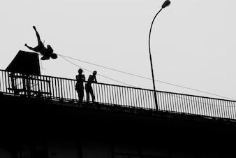 Ropejumper on a bridge