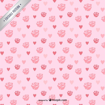 Roses and hearts pattern