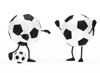 Round characters playing football