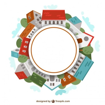 Round frame made of houses