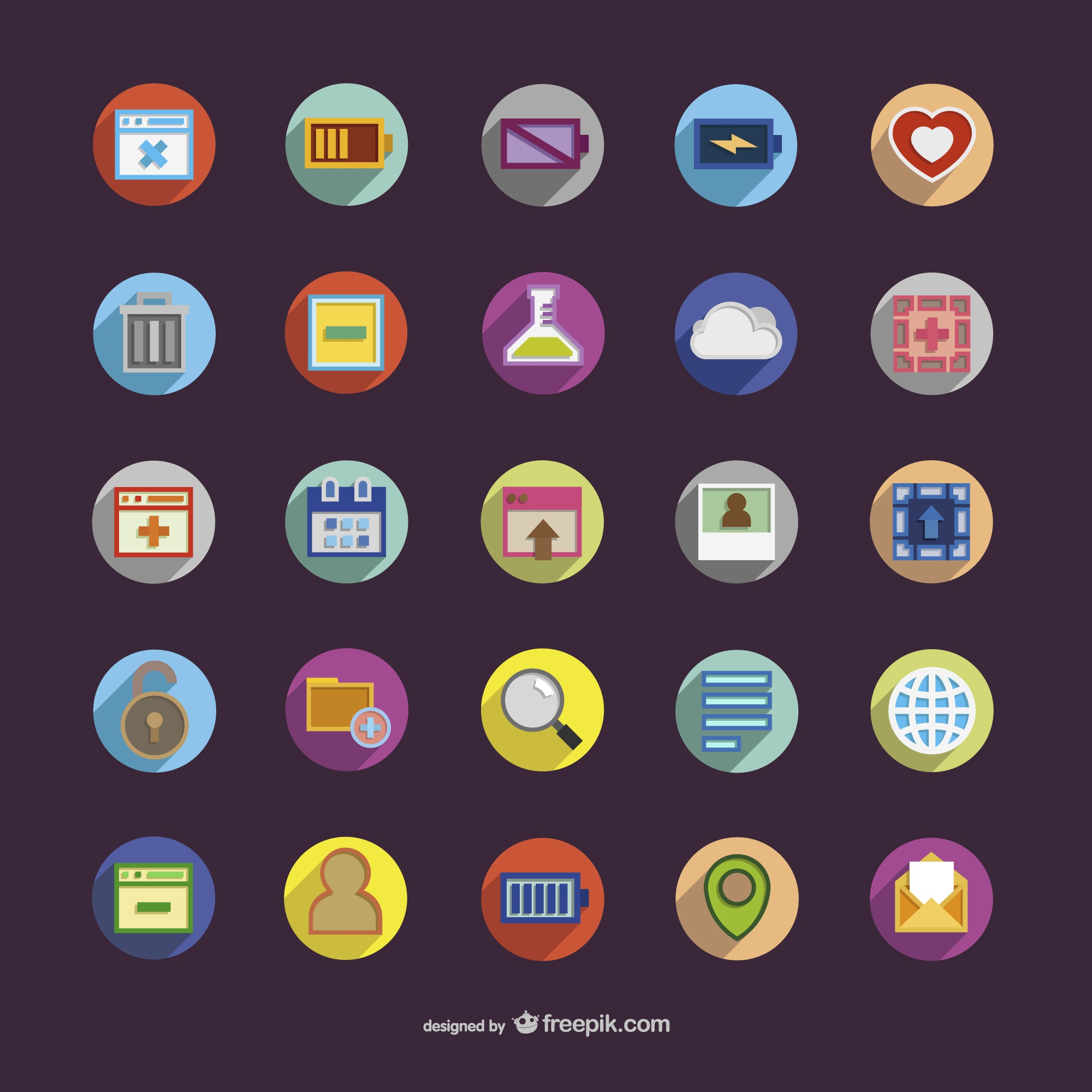 Round icons with colors
