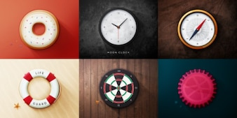 Round objects web icons PSD
