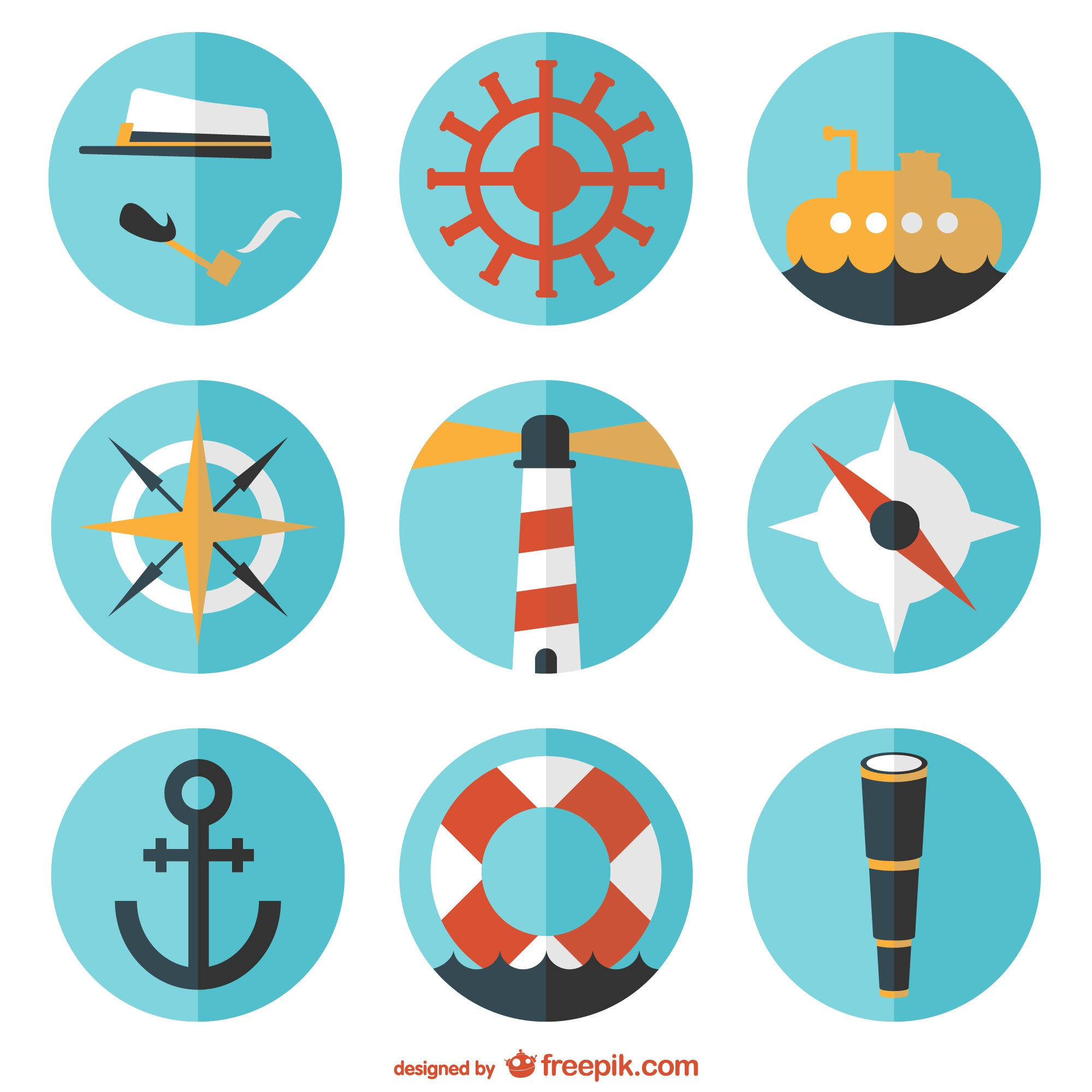 Round vector nautical flat set