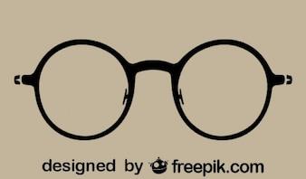 Round Vintage Glasses Silhouette Icon