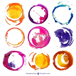 Round watercolor stains