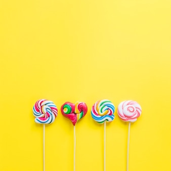 Row of coloured lollipops