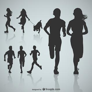 Runner sihouettes vector
