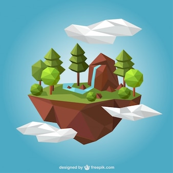Rural landscape in polygonal style