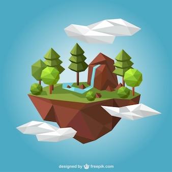 Rural landscape in polygonal style