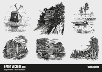 Rural scenes set. victorian style