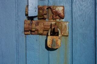 Rusted lock, blue
