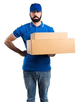Sad delivery man