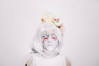 Sad pale girl