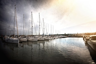 Sailboats in the port.