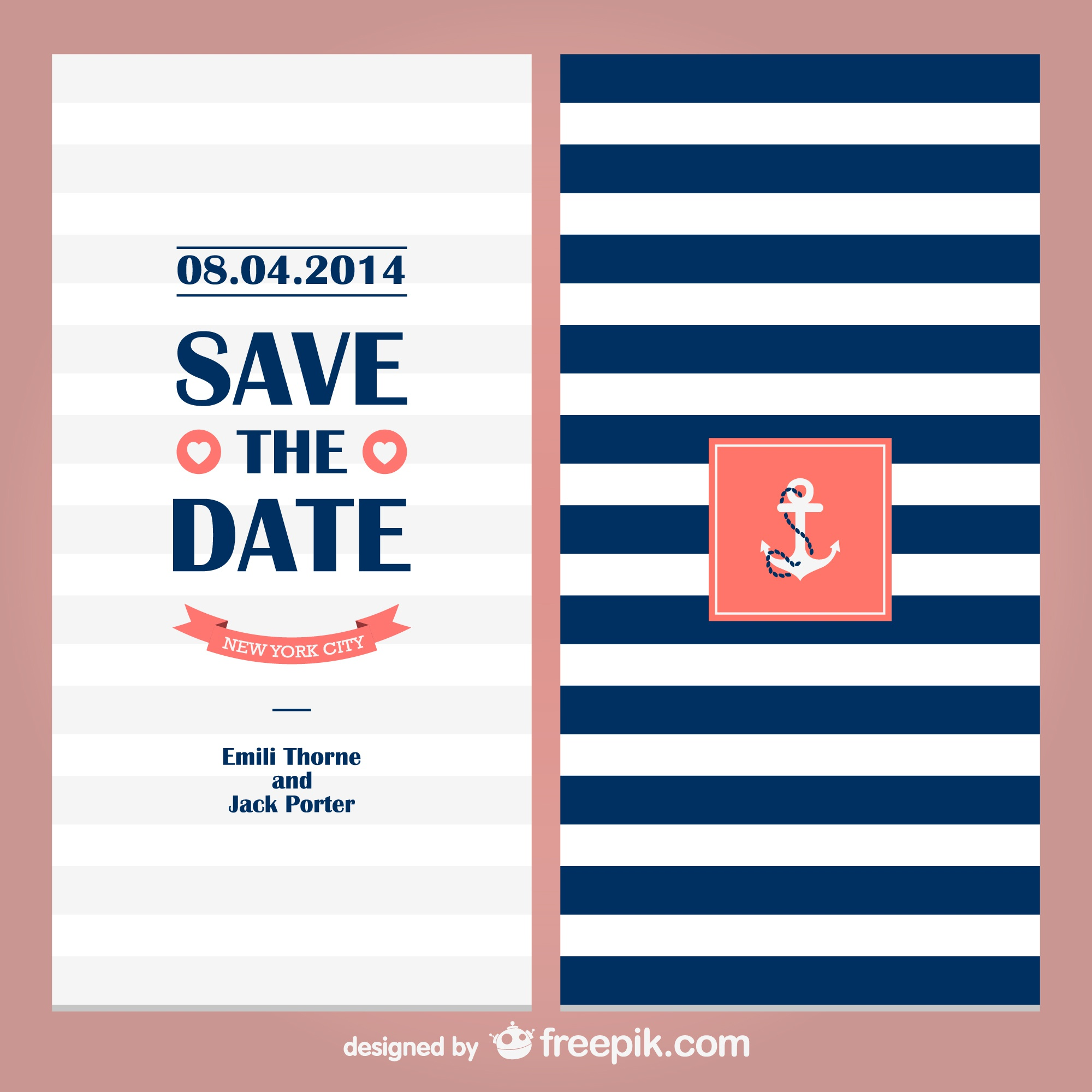 Sailor theme wedding invitation