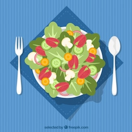 Salad dish top view