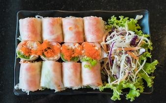 Salad roll vegetables with salad