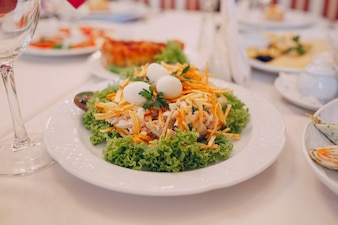 Salad with cheese and eggs