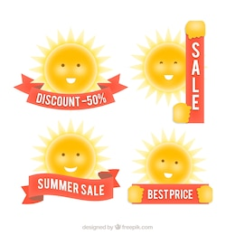 Sale badges with the sun