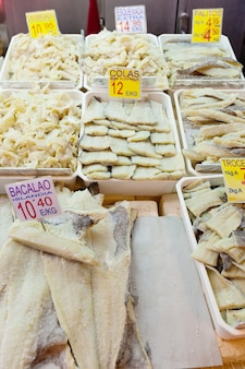 Salted fish on the counter
