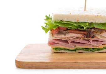 白い背景にサンドイッチ