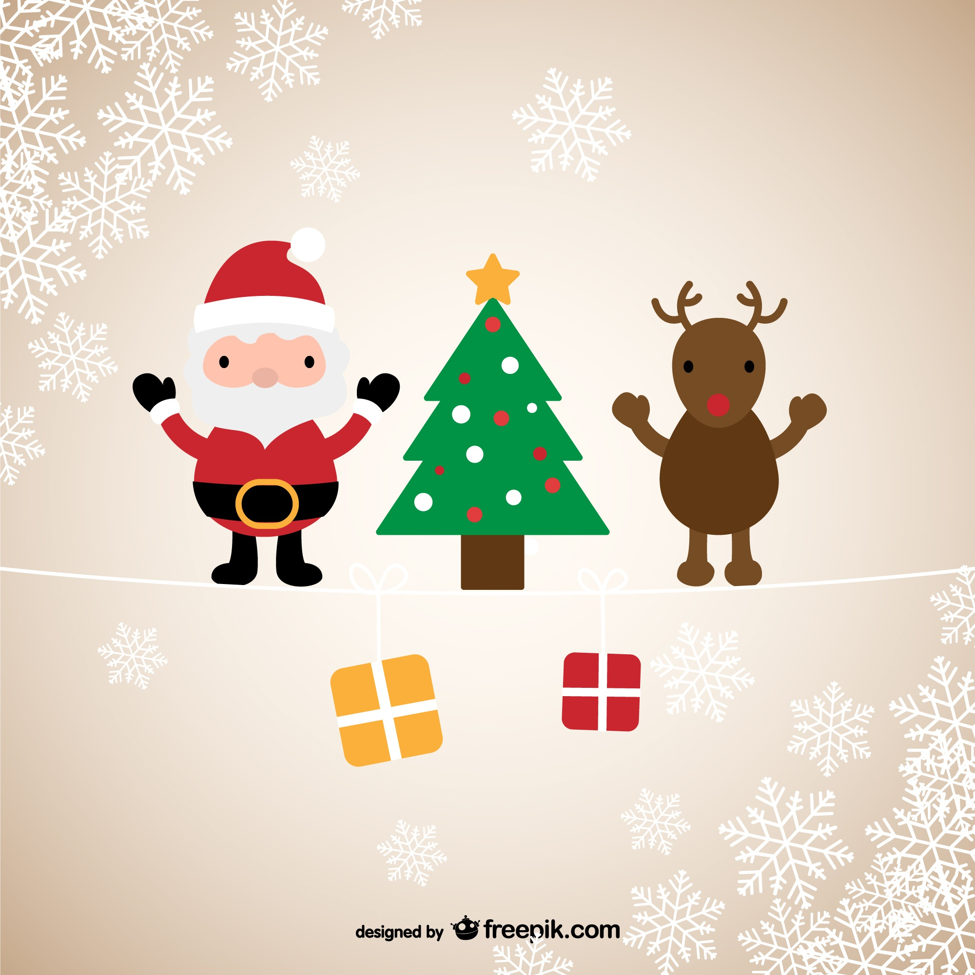 Santa & Reindeer Christmas greeting