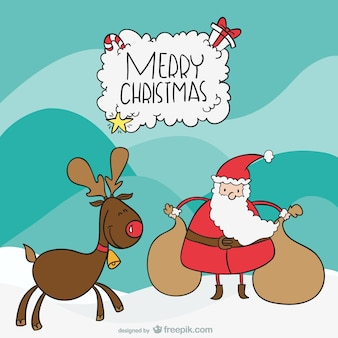 Santa and moose cartoon