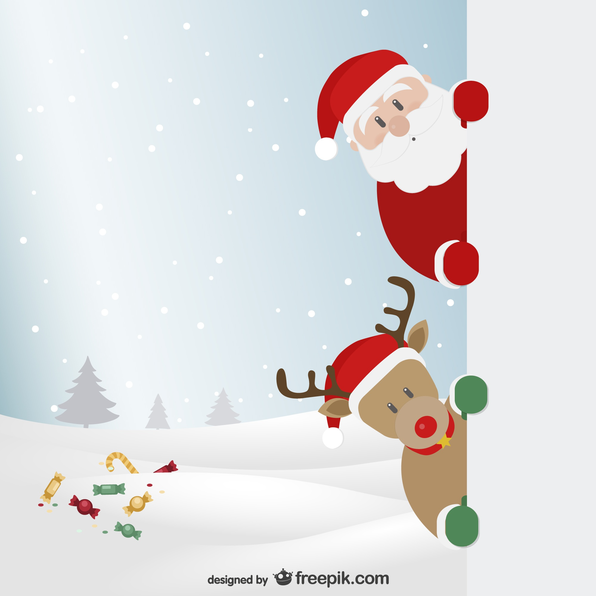 Santa Claus and reindeer with winter landscape