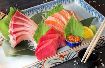 Sashimi set of tuna, hamachi, salmon and salmon eggs