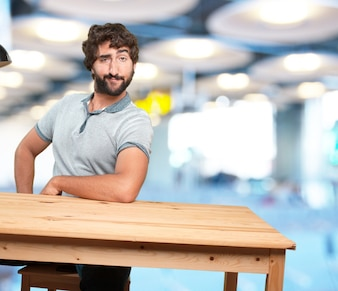 Satisfied man with blurred background