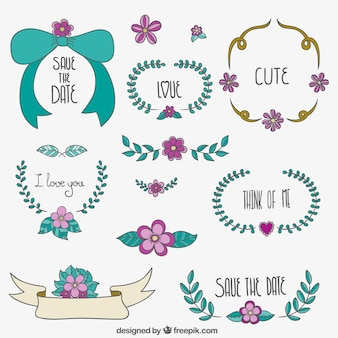 Save the Date floral ornaments