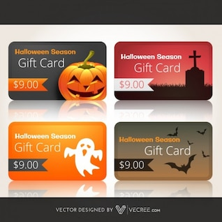 Scary gift cards collection for halloween