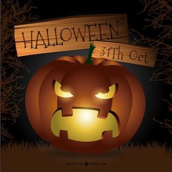 Scary Halloween pumpkin vector