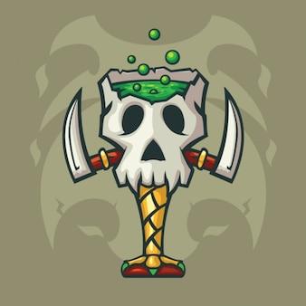 Scary halloween skull goblet illustration