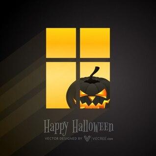 Scary pumpkin silhouette on the window