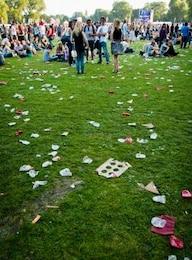 scattered trash on grass