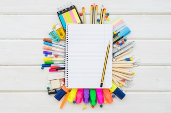 School decoration with blank notebook