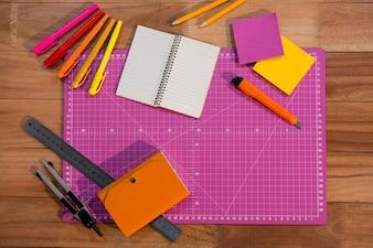 School essentials on wooden table