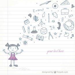 School girl vector doodle