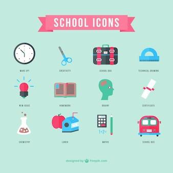 School icons flat design