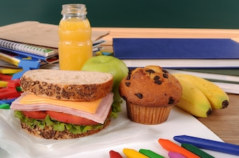 School lunch on classroom desk