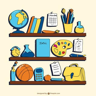 School supplies on shelves vector art