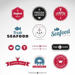 Sea food vector badges