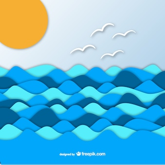 Sea on paper graphic background