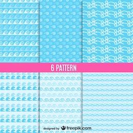 Sea waves seamless patterns vector set