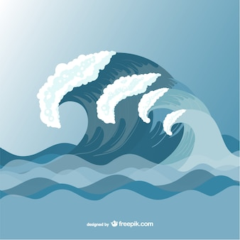 Sea waves vector drawing template